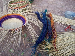 The dyed straw ready for weaving.